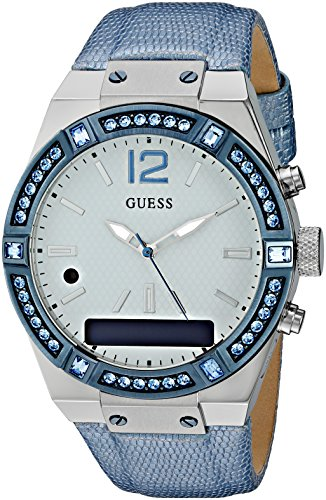 Guess CONNECT Womens Silver Dial Stone Set Blue Strap Smartwatch C0002M5