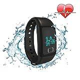 COOSA Smart bracelet pulsera inteligente pulsera Bluetooth 4.0 Bluetooth IP67 a prueba de agua OLED pantalla táctil Recordatorio de seguimiento de calorías podómetro Health Smart Muñequera sueño monitor de llamada para Android IOS Smartphone (negro, 573)