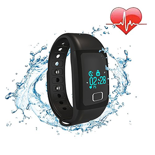 COOSA Smart bracelet pulsera inteligente pulsera Bluetooth 4.0 Bluetooth IP67 a prueba de agua OLED pantalla táctil Recordatorio de seguimiento de calorías podómetro Health Smart Muñequera sueño monitor de llamada para Android IOS Smartphone (negro,