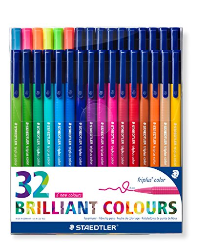 Staedtler Triplus Colour – Estuche con rotuladores de punta de fibra, color Assorted Pack of 32