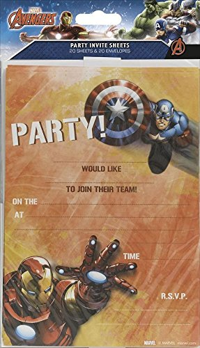 Avengers Party-Einladungen, 20 Stk., Marvel Iron Man, Captain America (Marvels Avengers Party Supplies)