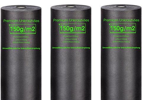 Xabian Anti Unkrautvlies 150g/m² Gartenvlies 3 Rollen 25m x 1m = 75m² I Unkrautfolie sehr hohe UV-Stabilisierung - extrem reißfest und wasserdurchlässig