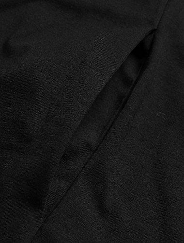 Allegra K Herren Schalkragen Offene Vorderseite Taschen Hoch-tief Saum Freizeit Lange Strickjacke Black