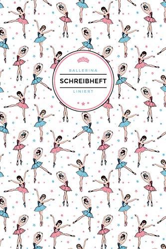 Ballerina Schreibheft Liniert: Geschenkidee für Mädchen die Ballett lieben | 120 Seiten | Superhandliches 6x9 Format | Coverdesign: Ballettfiguren und Sternchen (Haarnetze Tanz)
