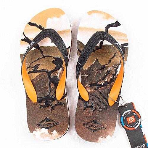 rutschsicher, Sommer Fuß Griffe, Gummi Graffiti Hausschuhe, die Persönlichkeit des Beach Men Cool Hausschuhe., Dreißig - neun, Braun Adler (Adler Füße)
