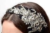 Diadema para el pelo con estrases y encaje bonita de glamour brillante hecha a mano