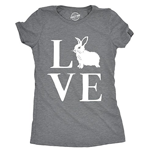 Crazy Dog Tshirts Womens Love Bunny Tshirt Cute Adorable Easter Sunday Rabbit Tee for Ladies -L - Damen - L (T-shirt Bunny Easter)
