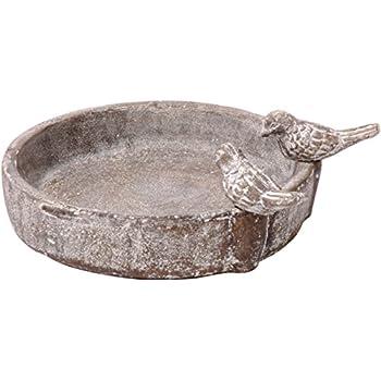 dobar 12971 Runde Vogeltränke mit zwei Deko-Vögeln, Vogelbecken aus Keramik für Wildvögel, Steingrau