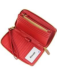 Mujeres RFID bloqueo bolso cuero genuino Zip alrededor de embrague gran cartera de viaje