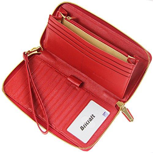 Frauen RFID Blocking Wallet Echtes Leder Zip Around Clutch Große Reise Geldbörse Rot (Geldbörse Leder Zip)