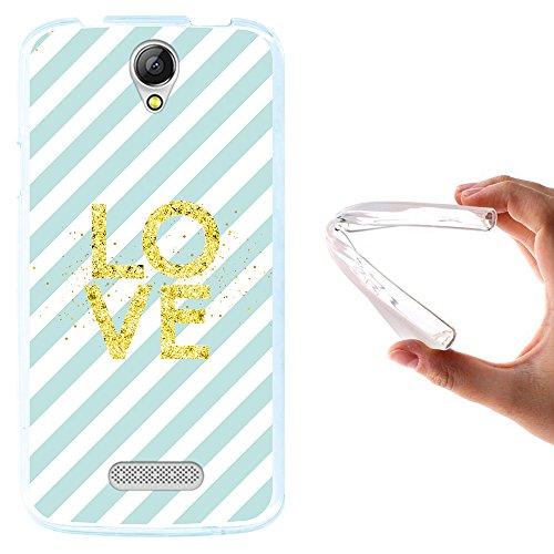 WoowCase Doogee X6 - X6 Pro Hülle, Handyhülle Silikon für [ Doogee X6 - X6 Pro ] Chic Stil Golden- Blaue gestreifte Punkte Handytasche Handy Cover Case Schutzhülle Flexible TPU - Transparent