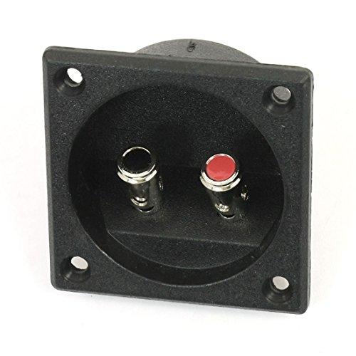SODIAL (R) Quadratischer Doppelverbindungspfosten-Typ Lautsprecher Anschlussdose - Schwarz -