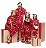 Familie Weihnachten Kapuzenpullover Overall Pyjamas Nachtwäsche Hirsch Langarm Sweatshirt Bodys Kleidung (Papa/M, Rot)