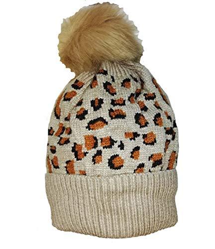 KGM Luxuriöser gestrickter Gepard Animal Print Fleece gefüttert mütze Beige... - Damen Damen Leopard Animal Print Winter Mützen -