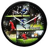 alles-meine GmbH Wanduhr -  Fußball & Fußballspieler  - inkl. Name - Ø 23 cm groß - Sehr Leis..