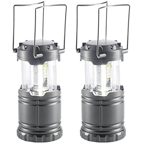 Ultrasport Camping Lampe LED 2er-Set, 360 Grad Campingleuchten mit Batterien, Energieklasse A Laternen, Silber