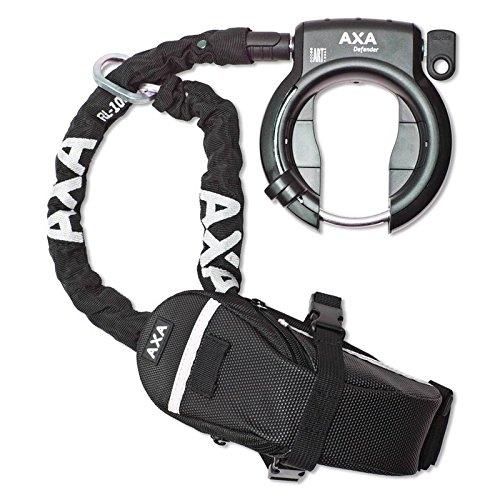 Rahmenschloss Axa Defender mit RL 100 Einsteckkette+ Outdoor Tasche auf Karte, schwarz (1 Stück)