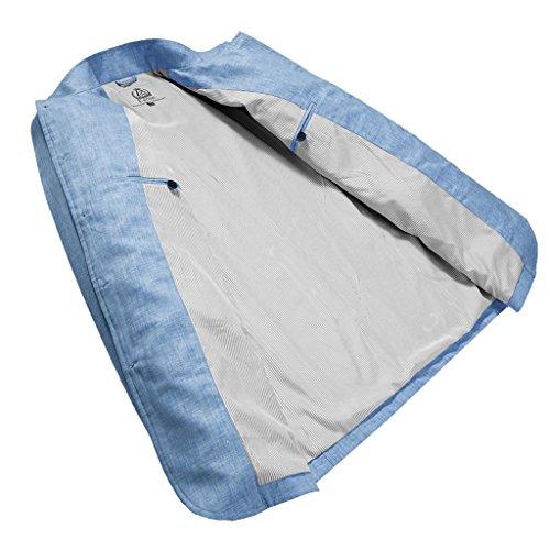 E-artist Uomo Slim Fit Casual Lino Blazer Giacca X02 Blu