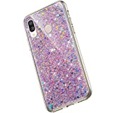 Saceebe Compatible avec Samsung Galaxy A40 Coque Silicone Paillette Strass Brillante Bling Glitter Housse Transparente Gel Silicone TPU Bumper Crystal Clear Housse Etui de Protection,Rose