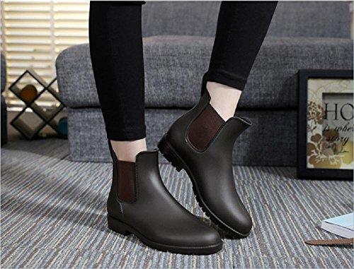 stivali da pioggia U-tipo delle donne casuali Brown