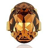 nobel-schmuck Ring mit Kristall von Swarovski® Gold Braun Variabel verstellbar