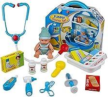 Malette de Docteur avec Mini Poupée et 18 Accessoires Jeu d'imitation pour Enfant