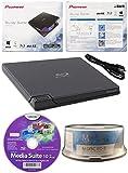 Pioneer BDR-XD05 6x Slim USB 3.0 portatile BD / DVD / CD Burner con 15PK GRATIS Software MDisc BD + Media Suite CyberLink + Cavo USB