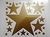 Bügelbild, Motiv: Sterne, Farbe: goldglitzernd, Setgröße: maxi, heißsiegelfähige Flexfolie