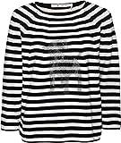 Reiskorn-Pullover mit Ringelmuster, Strass-und-Nieten-Motiv