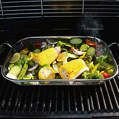 Tensay Barbecue Basket, BBQ Stainless Steel Mesh Basket Drain Basket for Charcoal, Gas or Electric Grill Reusable Heat Resistant Easy to Clean, Barbecue Fiberglass Grill Foil Tool -
