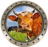 SATOHU286 - Sticker Trompe l'oeil Hublot Vache dans le pré (30x30cm)