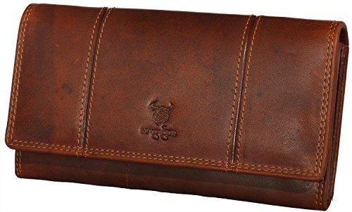 MATADOR ECHT Leder Geldbörse Geldbeutel Damen Frauen Portmonee Portemonnaie Geldtasche Langbörse mit RFID Schutz New Design in Antik Vintage Braun