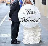 icase4u® Hochzeitsschirm Deko schirm Sonnenschirm Spitze Romantische Party Foto Requisiten Regenschirm Brautschirm Umbrella Spitzenschirm für die Hochzeit (Just Married)