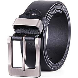 XIANGUO Cinturón De Cuero Negro Y Marrón Con Hebilla Plateada