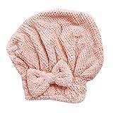 TianranRT Gorro de pelo seco Gorro de microfibra Turbante para el cabello Cabello seco de secado rápido Toalla envuelta Bañarse gorro (Rosa)
