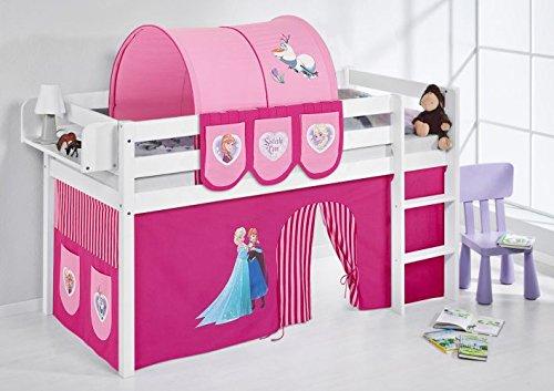 *Lilokids JELLE2054KW-FROZEN-R Spielbett Jelle Eiskönigin, Hochbett mit Vorhang Kinderbett, Holz, rosa, 208 x 98 x 113 cm*