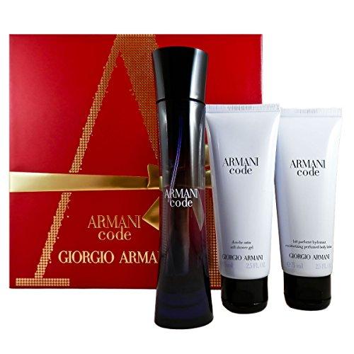 Giorgio armani code femme set regalo, 1er pack (eau de parfum 50ml, lozione per il corpo 75ml, gel doccia 75ml)