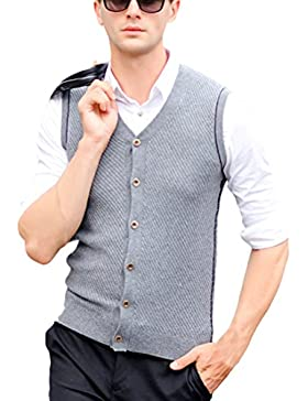 Zhhlinyuan alta calidad Mens Men's Middle-aged V-neck Slim Business Winter Sleeveless Wool Pullover Knitted Jumper...