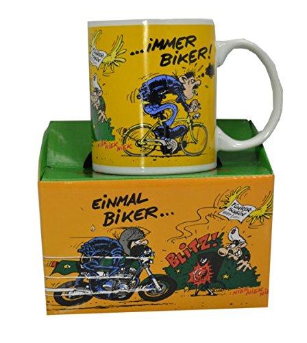 MOTOmania Kaffeetasse/Einmal Biker Design/Becher/Motorradfahrer Geschenkidee