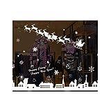 Cosanter Fensterbild Weihnachten selbstklebend Fensterdeko Weihnachtsdeko Sterne Elch Rentiere weiß