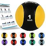 MSPORTS Medizinball 1 kg - Professionelle Studio-Qualität inkl. Übungsposter...