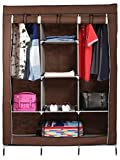 #9: HOUSE OF WAX Portable Wardrobe Rack Cabinet Collapsible Clothes Storage Rack DIY Barown Colour