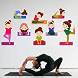 Rawpockets 'Kids Yoga Positions ' Wall Sticker (PVC Vinyl, 120 cm x 65cm)