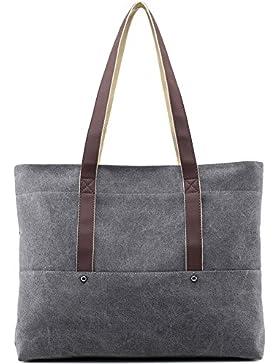AuBer Schultertasche Damen Handtasche Shopper Umhängetasche Mädchen Vintage Canvas Tasche Einkaufstasche Frauen...