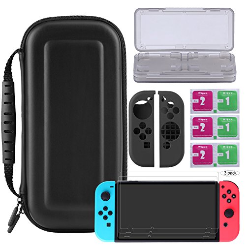 Foto de Bestico Kit Protección para Nintendo Switch, Funda Switch Accesorios de Protección incluyen Estuche Nintendo Switch /Estuche tarjeta de juego/3 Clear HD Full Coverage Nintendo Switch Protector de Pantalla/Joy-Con Skin Estucha Silicona (Switch Kits)