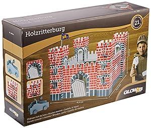 Glow2B Alemania 1000524-Castillo De Madera, Incluye Dos Escaleras, una Bandera, una Piedra Centrifugado, 21Piezas