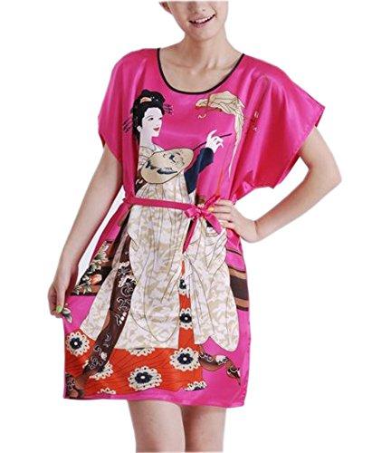 YueLian Pigiama da Donna con Cintura Camicia Liscio, 2 Colori Rosa