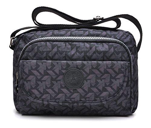 tuokener Sac Bandouliere Femme Nylon Sacs à main bandoulière Femmes Pour Voyager Imperméable Crossbody Bag Waterproof (Gris)