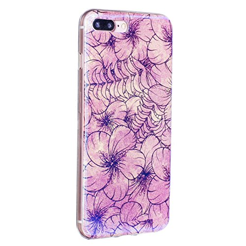 iPhone 7 Plus Custodia Silicone, iPhone 7 Plus Cover TPU, JAWSEU Apple iPhone 7 Plus 5.5 Case Caso Bella Luminoso Floreale Brillante Blu Protezione Cristallo Trasparente Custodia Cover Antiurto Ultra  Floreale #10