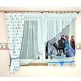 Tkaniny GME-1 Disney Kindergardine für Mädchen/Kinder mit Motiv EISKÖNIGIN ELSA & Anna Frozen für Kinderzimmer/Mädchenzimmer Blau Sterne